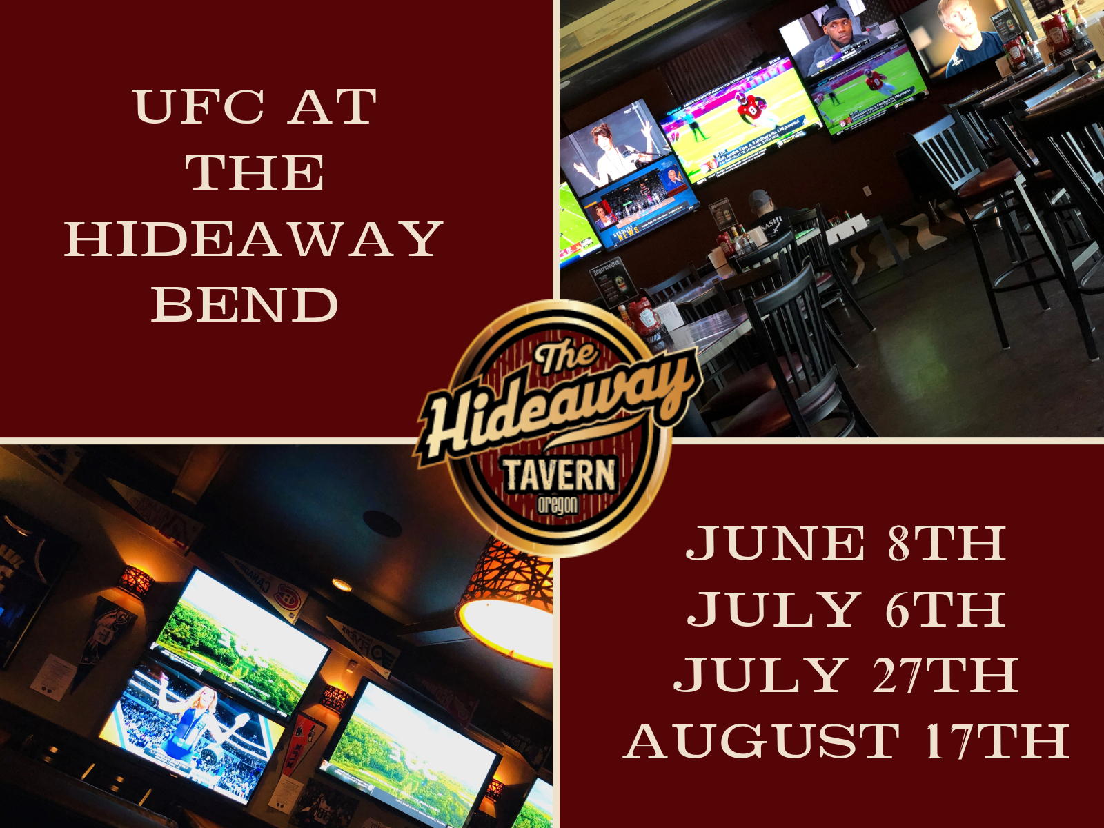 UFC Summer Schedule at The Hideaway Bend | The Hideaway Tavern